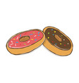 two glazed doughnuts with vector image