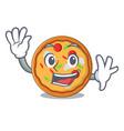 waving pizza character cartoon style vector image