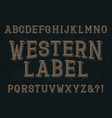 western label font isolated english alphabet vector image