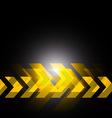 yellow arrow in black background vector image