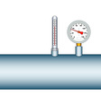 Manometer and thermometer on pipe vector image