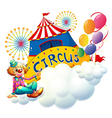 A clown sitting with a circus signboard vector image vector image