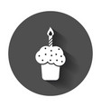 birthday cake flat icon fresh pie muffin in flat vector image vector image