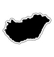 black silhouette of the country hungary with the vector image