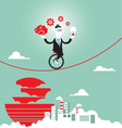 Businessman balancing on the rope with ideas vector image