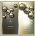 Christmas banners with balls Golden Xmas baubles vector image vector image