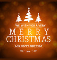 christmas greetings card with dark background and vector image vector image