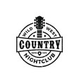 classic country music logo guitar vintage retro vector image vector image