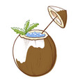 coconut cocktail icon natural taste and exotic vector image