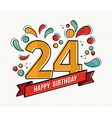 Colorful happy birthday number 24 flat line design vector image vector image