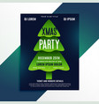 creative green christmas tree party flyer design vector image vector image