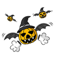 Creepy Flying Halloween Pumpkin vector image