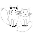 cute couple of cats in simple doodle style vector image vector image