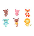 cute toy animals collection dog pig fox bear vector image vector image