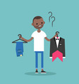 difficult choice young black man trying to decide vector image vector image