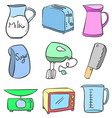 doodle of kitchen equipment vector image vector image