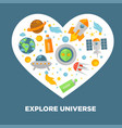 explore universe poster with space themed icons in vector image vector image