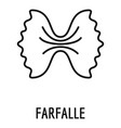 farfalle pasta icon outline style vector image vector image