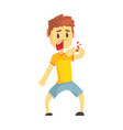 frightened boy with broken hand with blood cartoon vector image