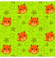 Funny seamless pattern with cute fox faces vector image vector image