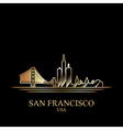 Gold silhouette of San Francisco on black backgrou vector image
