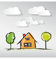 Hand Drawn House with Paper Clouds and Trees vector image vector image
