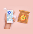 hand holding mobile smart phone with delivery vector image
