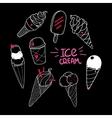 Ice Cream Set Black vector image