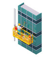 isometric skyscraper windows cleaning vector image
