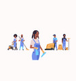 janitors team working together cleaning service vector image