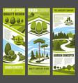 landscape design banner with green garden tree vector image vector image
