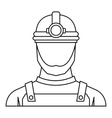 Male miner icon outline style vector image vector image