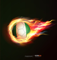Nigeria flag with flying soccer ball on fire vector image vector image