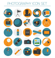 Photography icon set with photo camera equipment vector image vector image