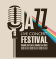 poster for concert of jazz music with a microphone vector image vector image