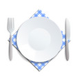realistic empty plate fork and knife served on a vector image vector image