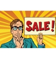 Retro businessman secret sale vector image vector image