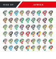 rising fist hand africa flag set vector image