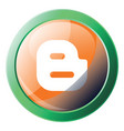 round orange and green icon a blogger platform vector image