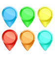 Set of colored glossy tags on the map vector image vector image