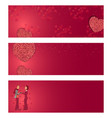 set of valentines day cards with hearts woman and vector image