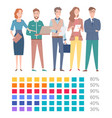 square icons chart or graph presentation vector image vector image