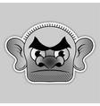 sticker - bald villain with a broad black eyebrows vector image vector image