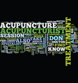 the dos and donts of acupuncture text background vector image vector image
