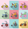tricycle bicycle bike wheel icons set flat style vector image