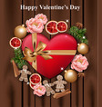 valentines day card heart gift box and roses on vector image vector image