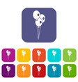 wedding balloons icons set vector image