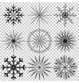 snowflake icon set on transparent vector image