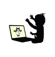 child on laptop silhouette vector image