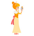 the princess looks in the mirror vector image
